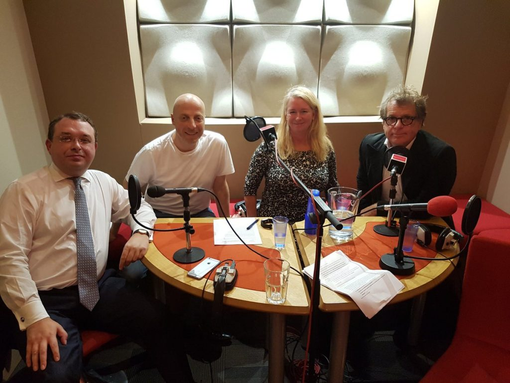 Photo of Francis Ingham, Russell Goldsmith, Claire Walker, Mark Borkowski discussing Bell Pottinger