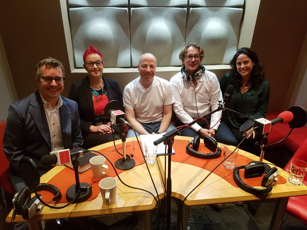 Photo of show guests - Jeremy Waite, Dr Sue Black OBE, Russell Goldsmith, Brendon Craigie and Ellen Raphael