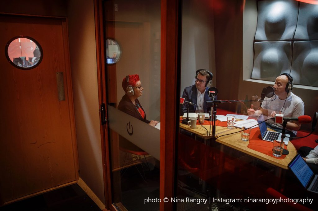 Studio shot of the recording of the show with Sue Black, Jeremy Waite and Russell Goldsmith