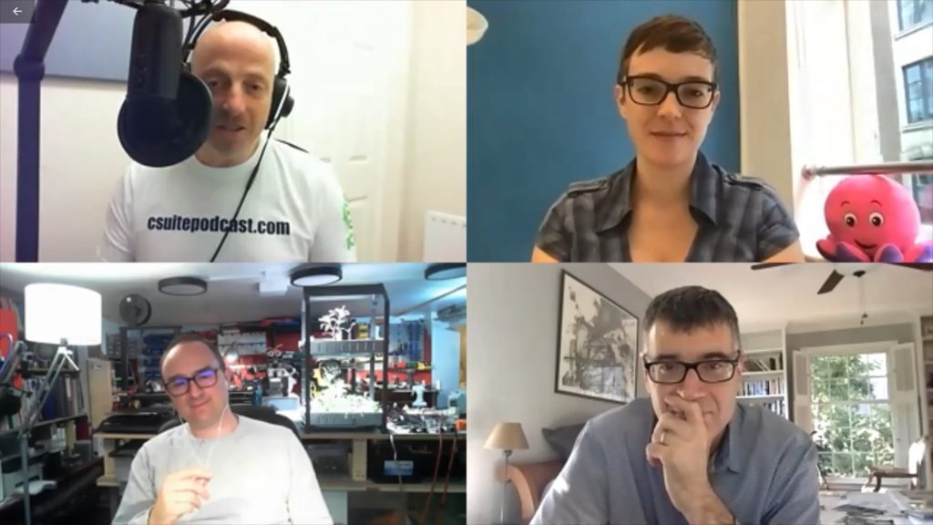 Podcast host Russell Goldsmith (top right) chats with Rebecca Dibb-Simkin, Tom Cheesewright (bottom left) and Jeremy Hillman