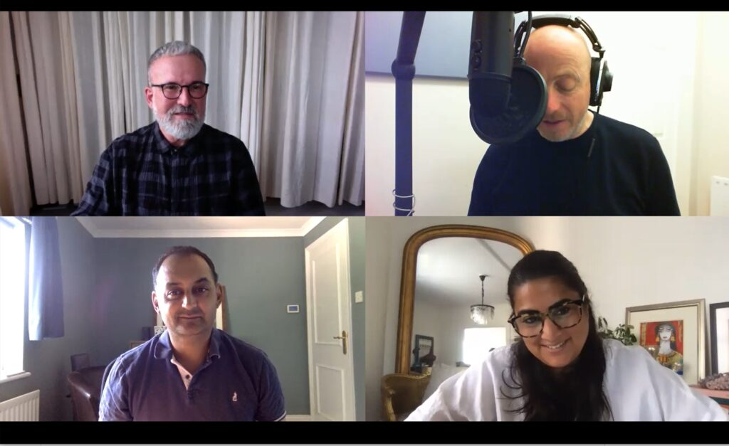 Recording online with (Top L-R) George Gottl and Russell Goldsmith; (Bottom) Sanjay Patel and Aliya Khan